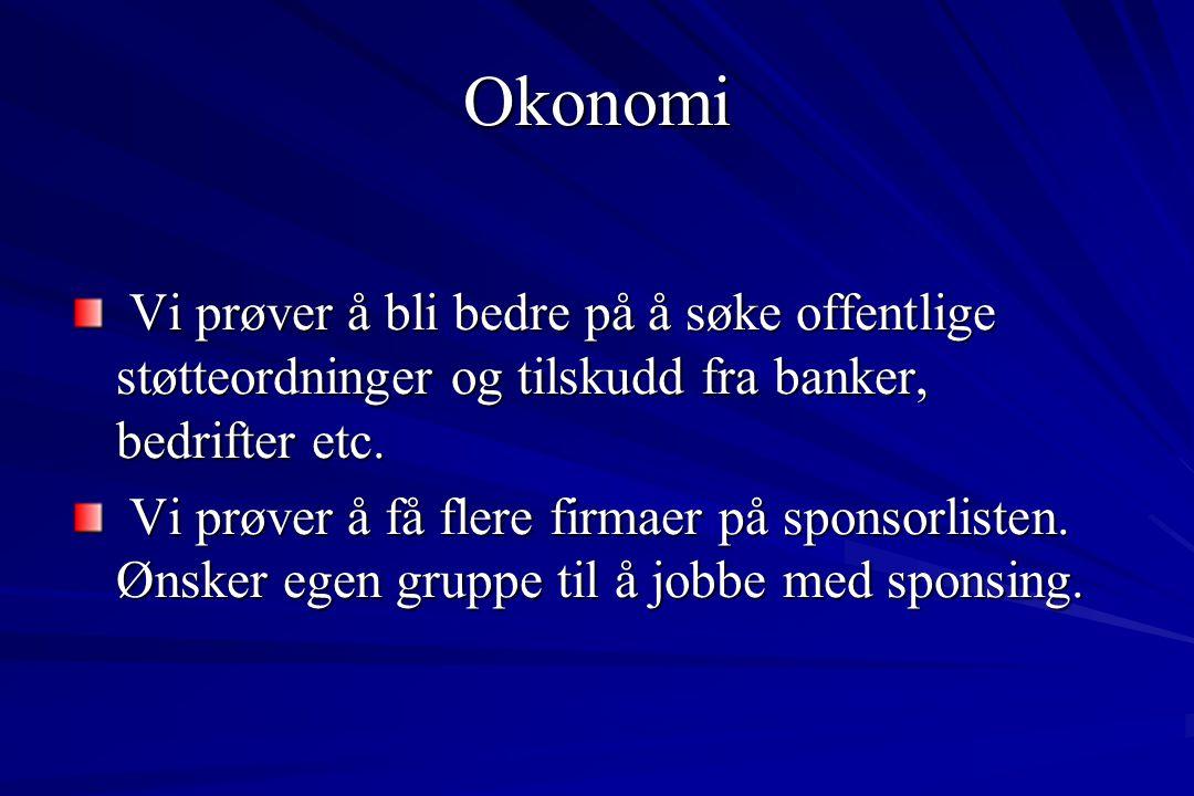 Okonomi Vi prøver å bli bedre på å søke offentlige støtteordninger og tilskudd fra banker, bedrifter etc. Vi prøver å bli bedre på å søke offentlige s