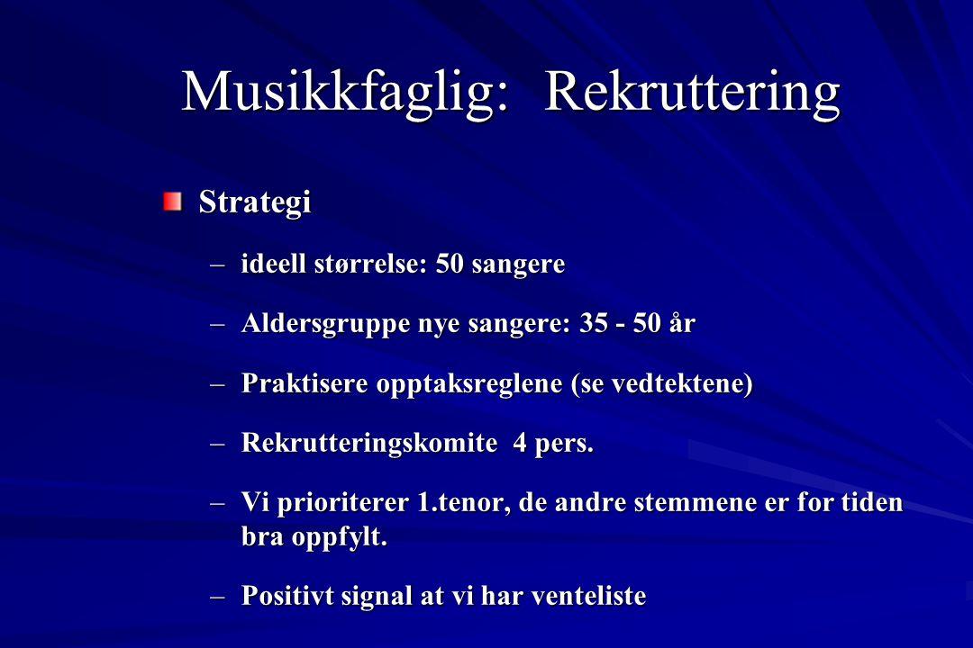 Musikkfaglig: Rekruttering Strategi –ideell størrelse: 50 sangere –Aldersgruppe nye sangere: 35 - 50 år –Praktisere opptaksreglene (se vedtektene) –Re
