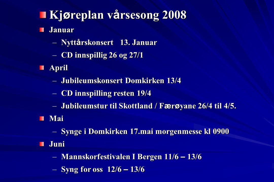Kj ø replan v å rsesong 2008 Januar –Nytt å rskonsert 13. Januar –CD innspillig 26 og 27/1 April –Jubileumskonsert Domkirken 13/4 –CD innspilling rest