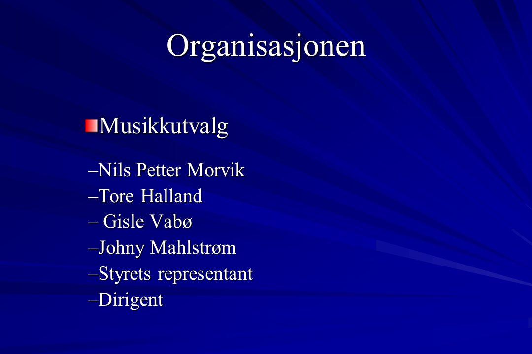 Musikkutvalg –Nils Petter Morvik –Tore Halland – Gisle Vabø –Johny Mahlstrøm –Styrets representant –Dirigent Organisasjonen