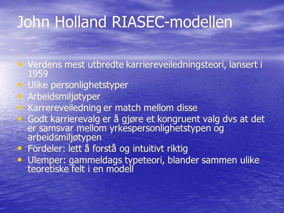 John Holland RIASEC-modellen • • Verdens mest utbredte karriereveiledningsteori, lansert i 1959 • • Ulike personlighetstyper • • Arbeidsmiljøtyper • •