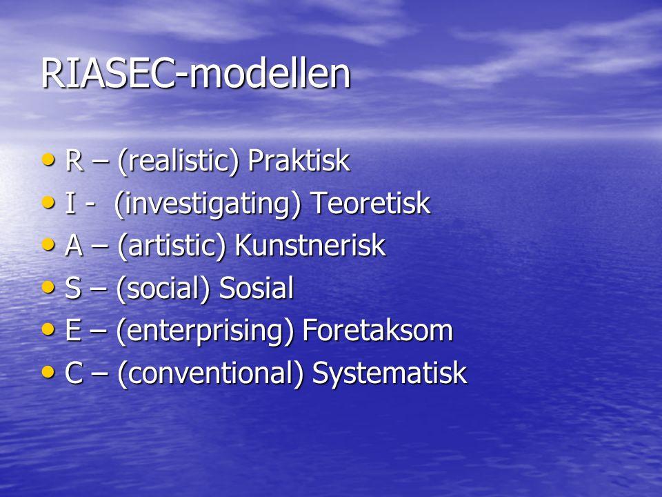 RIASEC-modellen • R – (realistic) Praktisk • I - (investigating) Teoretisk • A – (artistic) Kunstnerisk • S – (social) Sosial • E – (enterprising) For