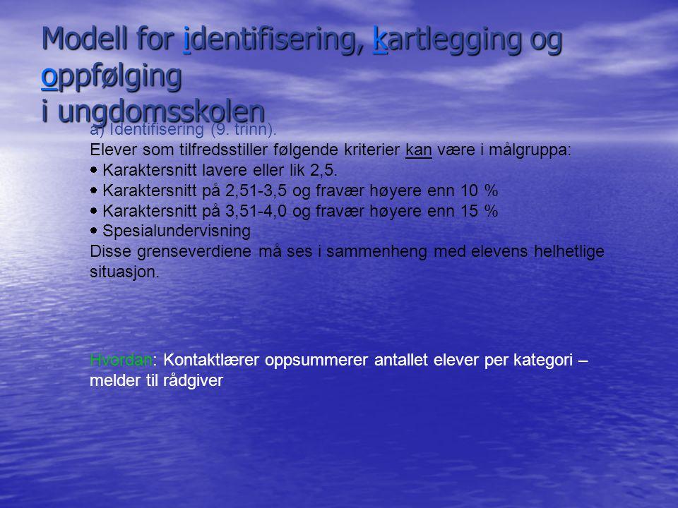 Modell for identifisering, kartlegging og oppfølging i ungdomsskolen a) Identifisering (9. trinn). Elever som tilfredsstiller følgende kriterier kan v