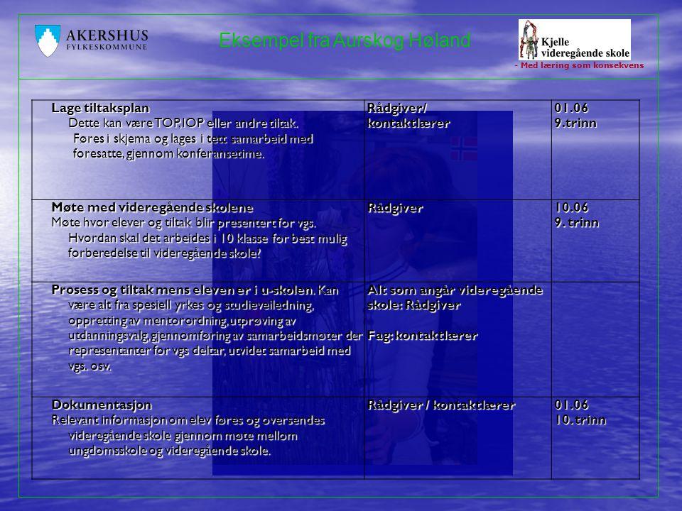 - Med læring som konsekvens Eksempel fra Aurskog Høland Lage tiltaksplan Dette kan være TOP, IOP eller andre tiltak. Føres i skjema og lages i tett sa