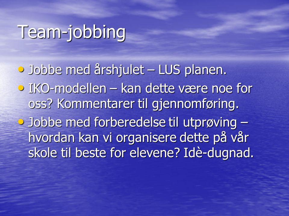 Team-jobbing • Jobbe med årshjulet – LUS planen. • IKO-modellen – kan dette være noe for oss? Kommentarer til gjennomføring. • Jobbe med forberedelse