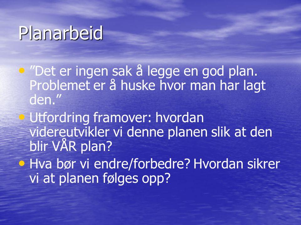 Planarbeid • • Det er ingen sak å legge en god plan.