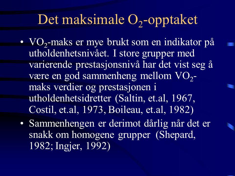 Det maksimale O 2 -opptaket •VO 2 -maks er mye brukt som en indikator på utholdenhetsnivået.