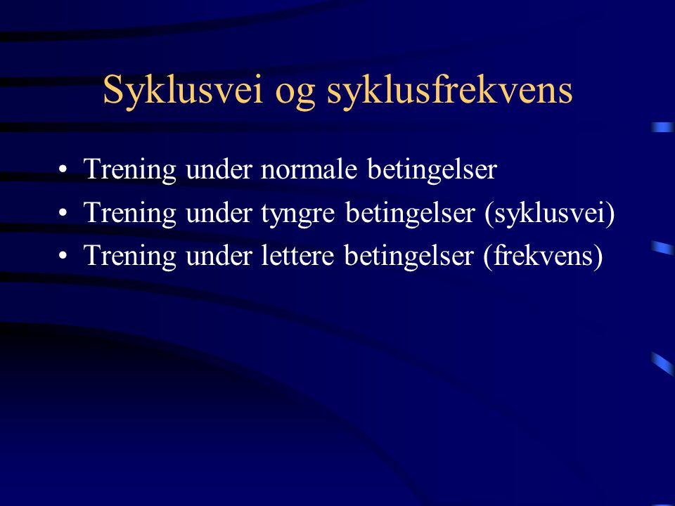 Syklusvei og syklusfrekvens •Trening under normale betingelser •Trening under tyngre betingelser (syklusvei) •Trening under lettere betingelser (frekvens)