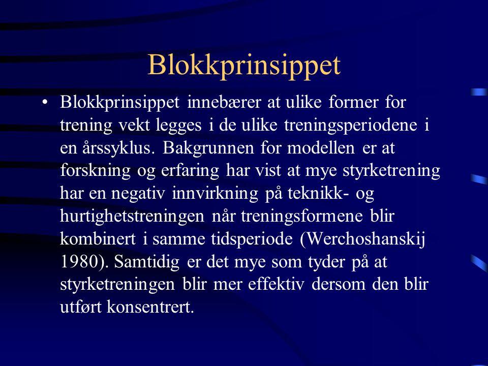 Blokkprinsippet •Blokkprinsippet innebærer at ulike former for trening vekt legges i de ulike treningsperiodene i en årssyklus.