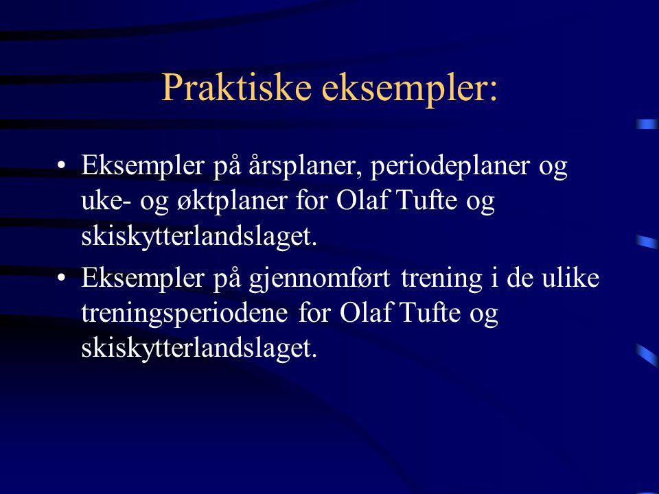 Praktiske eksempler: •Eksempler på årsplaner, periodeplaner og uke- og øktplaner for Olaf Tufte og skiskytterlandslaget.