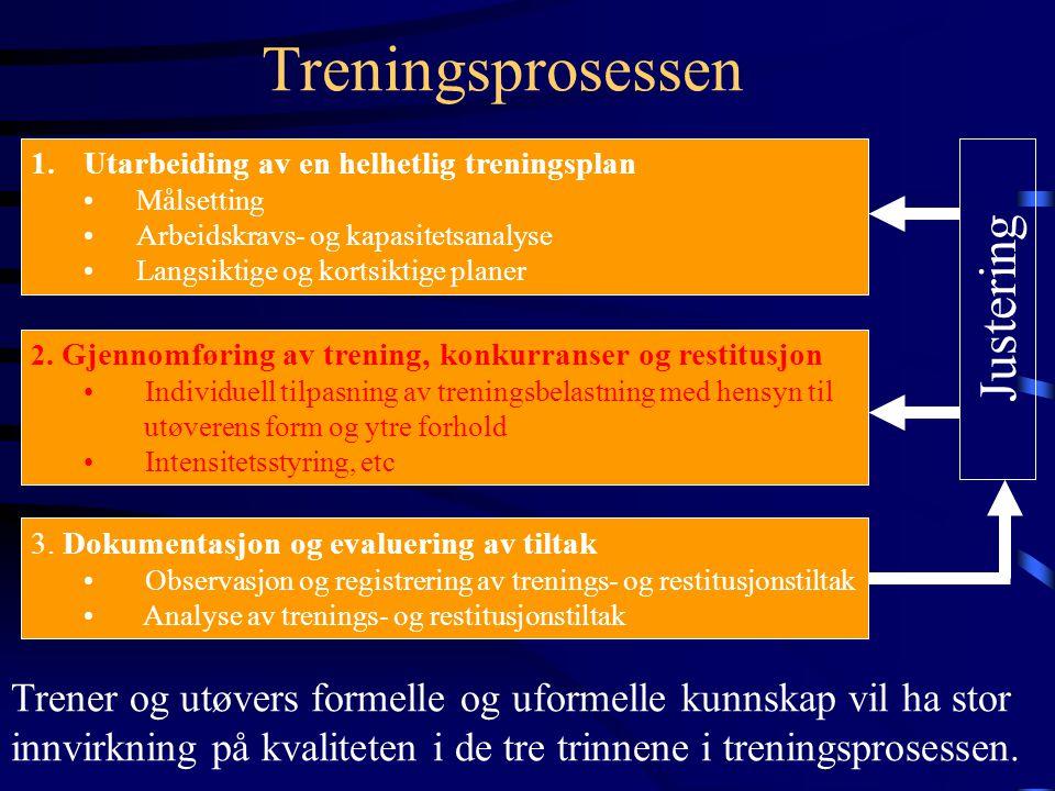 Treningsprosessen 1.Utarbeiding av en helhetlig treningsplan •Målsetting •Arbeidskravs- og kapasitetsanalyse •Langsiktige og kortsiktige planer 2.