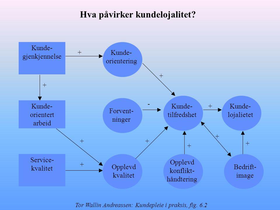 Kunde- gjenkjennelse Kunde- orientert arbeid Service- kvalitet Forvent- ninger Kunde- orientering Opplevd kvalitet Bedrift- image Opplevd konflikt- hå
