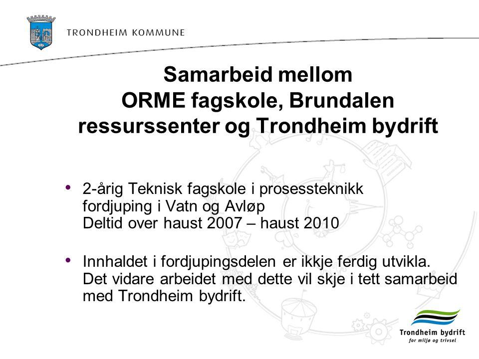 Samarbeid mellom ORME fagskole, Brundalen ressurssenter og Trondheim bydrift • 2-årig Teknisk fagskole i prosessteknikk fordjuping i Vatn og Avløp Deltid over haust 2007 – haust 2010 • Innhaldet i fordjupingsdelen er ikkje ferdig utvikla.