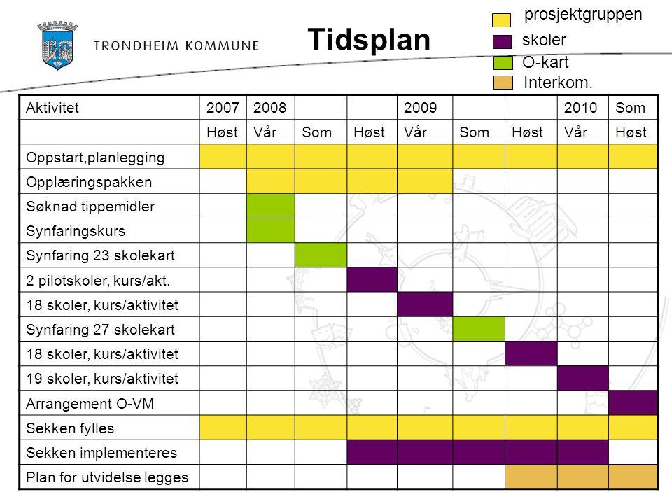 Tidsplan Aktivitet2007200820092010Som HøstVårSomHøstVårSomHøstVårHøst Oppstart,planlegging Opplæringspakken Søknad tippemidler Synfaringskurs Synfarin
