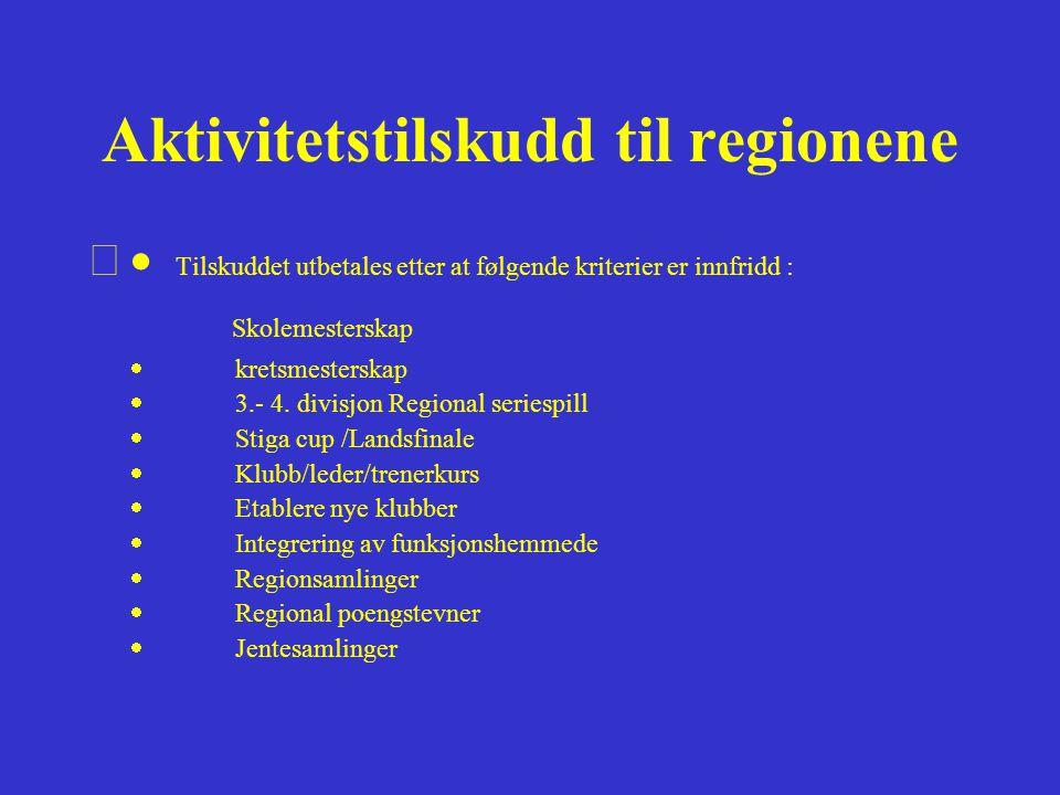 Regional poengstevner •Mål/hensikt:Øke aktiviteten i regionene og fremme samarbeidet over krets- grensene (i regionene) •Resultatmål: Medvirke til at