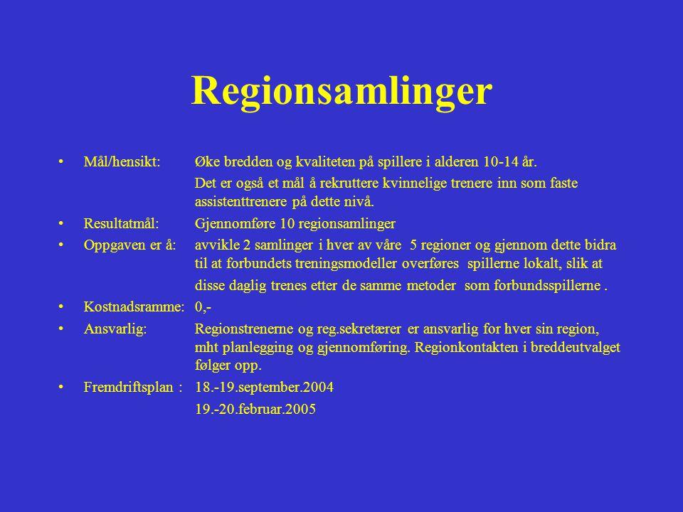 Regionsamlinger •Mål/hensikt:Øke bredden og kvaliteten på spillere i alderen 10-14 år.