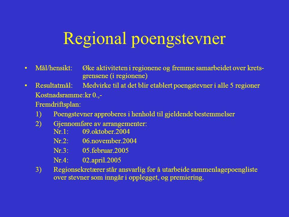 Regional poengstevner •Mål/hensikt:Øke aktiviteten i regionene og fremme samarbeidet over krets- grensene (i regionene) •Resultatmål: Medvirke til at det blir etablert poengstevner i alle 5 regioner Kostnadsramme:kr 0.,- Fremdriftsplan: 1) Poengstevner approberes i henhold til gjeldende bestemmelser 2)Gjennomføre av arrangementer: Nr.1:09.oktober.2004 Nr.2:06.november.2004 Nr.3:05.februar.2005 Nr.4:02.april.2005 3) Regionsekretærer står ansvarlig for å utarbeide sammenlagepoengliste over stevner som inngår i opplegget, og premiering.