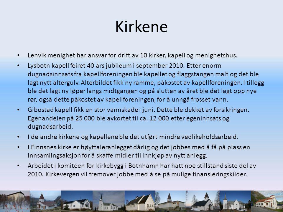 Kirkene • Lenvik menighet har ansvar for drift av 10 kirker, kapell og menighetshus.
