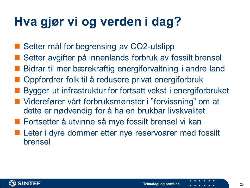 Teknologi og samfunn 25 Hva gjør vi og verden i dag?  Setter mål for begrensing av CO2-utslipp  Setter avgifter på innenlands forbruk av fossilt bre