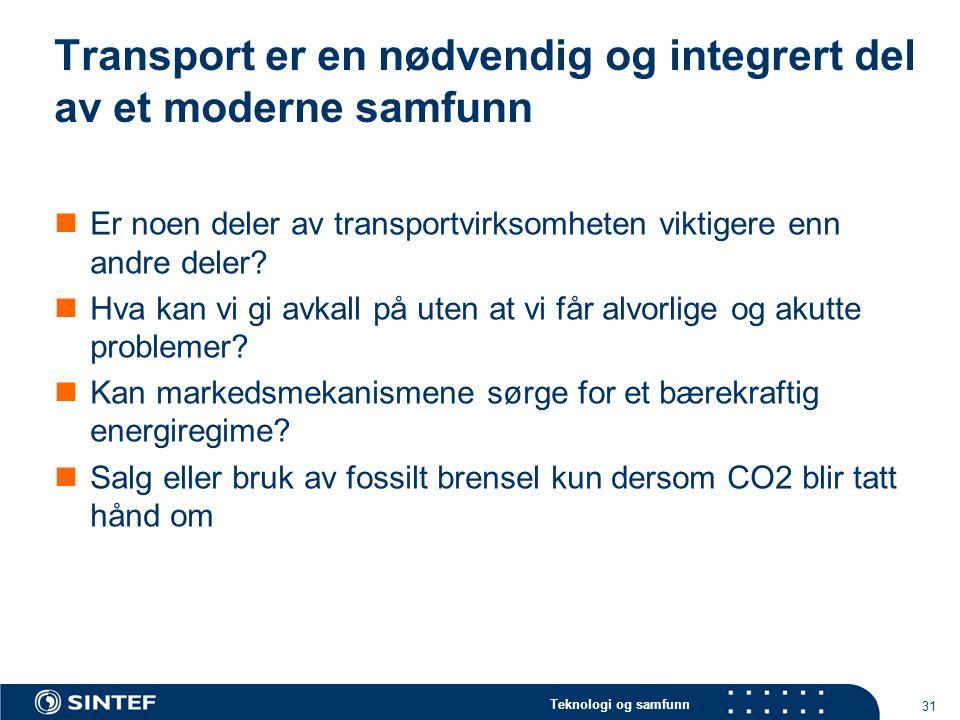 Teknologi og samfunn 31 Transport er en nødvendig og integrert del av et moderne samfunn  Er noen deler av transportvirksomheten viktigere enn andre
