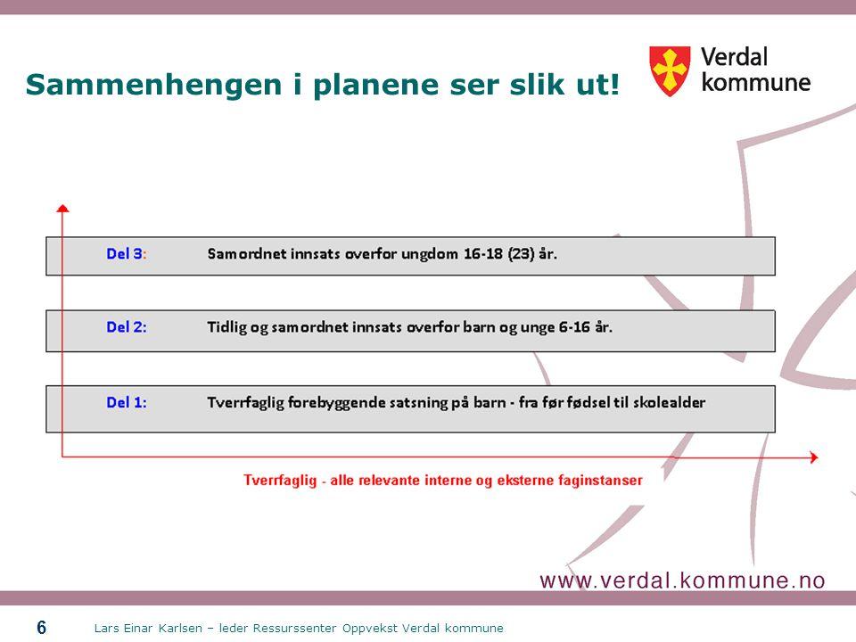 Lars Einar Karlsen – leder Ressurssenter Oppvekst Verdal kommune 6 Sammenhengen i planene ser slik ut!