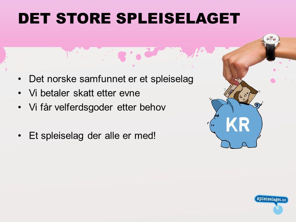 DET STORE SPLEISELAGET •Det norske samfunnet er et spleiselag •Vi betaler skatt etter evne •Vi får velferdsgoder etter behov •Et spleiselag der alle er med!
