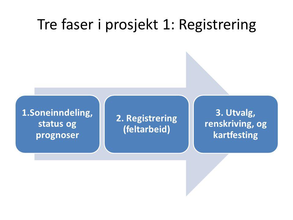 Tre faser i prosjekt 1: Registrering 1.Soneinndeling, status og prognoser 2. Registrering (feltarbeid) 3. Utvalg, renskriving, og kartfesting