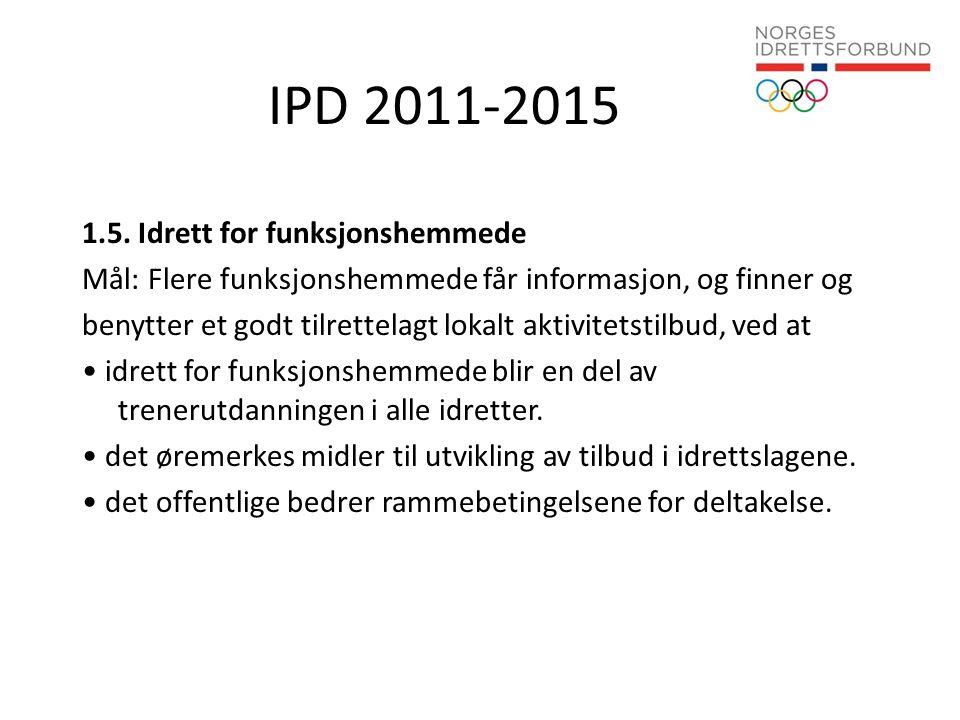 IPD 2011-2015 1.5. Idrett for funksjonshemmede Mål: Flere funksjonshemmede får informasjon, og finner og benytter et godt tilrettelagt lokalt aktivite