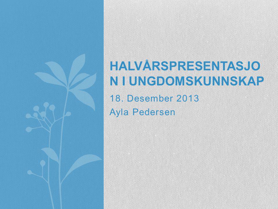 18. Desember 2013 Ayla Pedersen HALVÅRSPRESENTASJO N I UNGDOMSKUNNSKAP