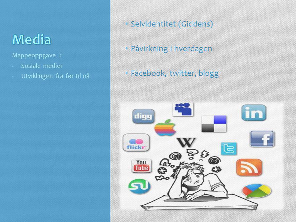 • Selvidentitet (Giddens) • Påvirkning i hverdagen • Facebook, twitter, blogg Mappeoppgave 2 -Sosiale medier -Utviklingen fra før til nå