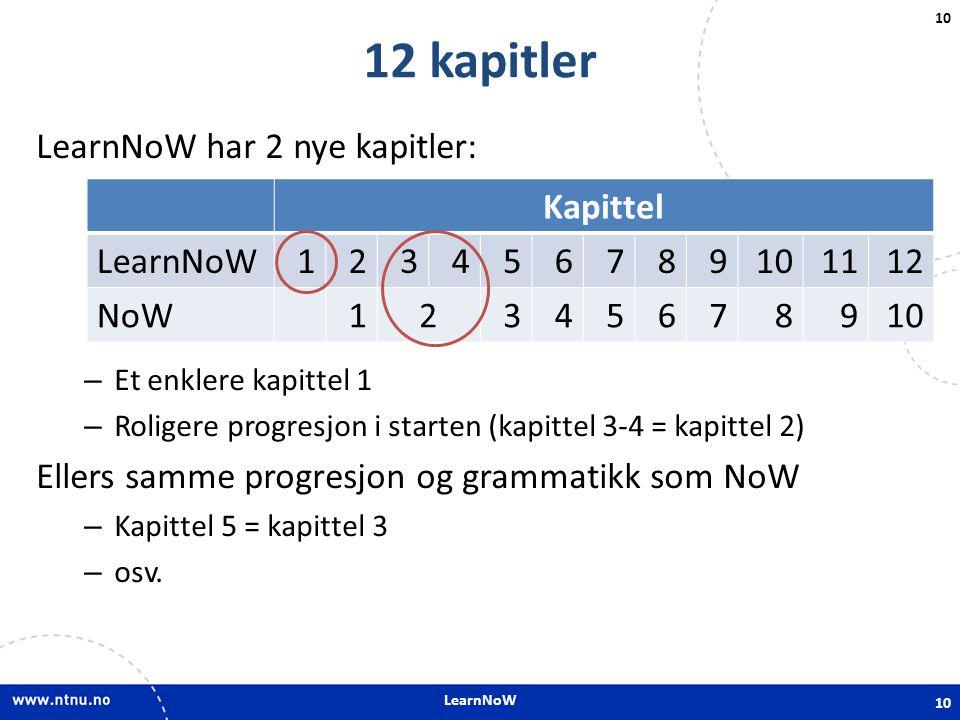 LearnNoW 10 12 kapitler LearnNoW har 2 nye kapitler: – Et enklere kapittel 1 – Roligere progresjon i starten (kapittel 3-4 = kapittel 2) Ellers samme