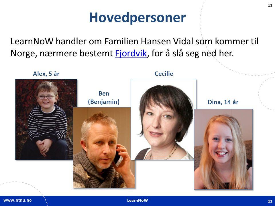 LearnNoW 11 Hovedpersoner LearnNoW handler om Familien Hansen Vidal som kommer til Norge, nærmere bestemt Fjordvik, for å slå seg ned her.Fjordvik 11