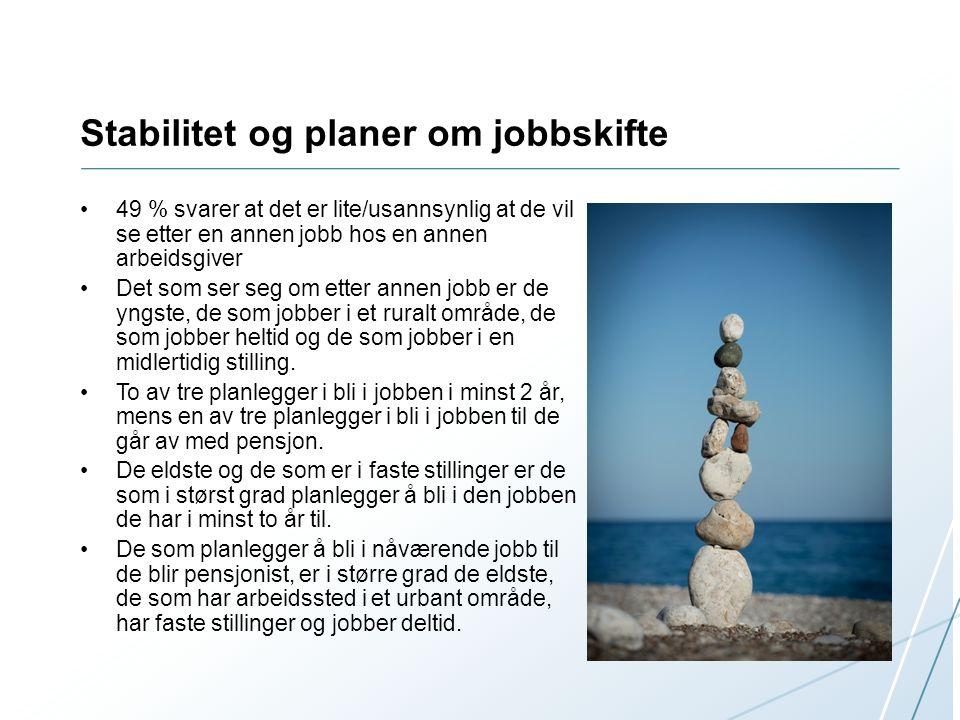 Stabilitet og planer om jobbskifte •49 % svarer at det er lite/usannsynlig at de vil se etter en annen jobb hos en annen arbeidsgiver •Det som ser seg