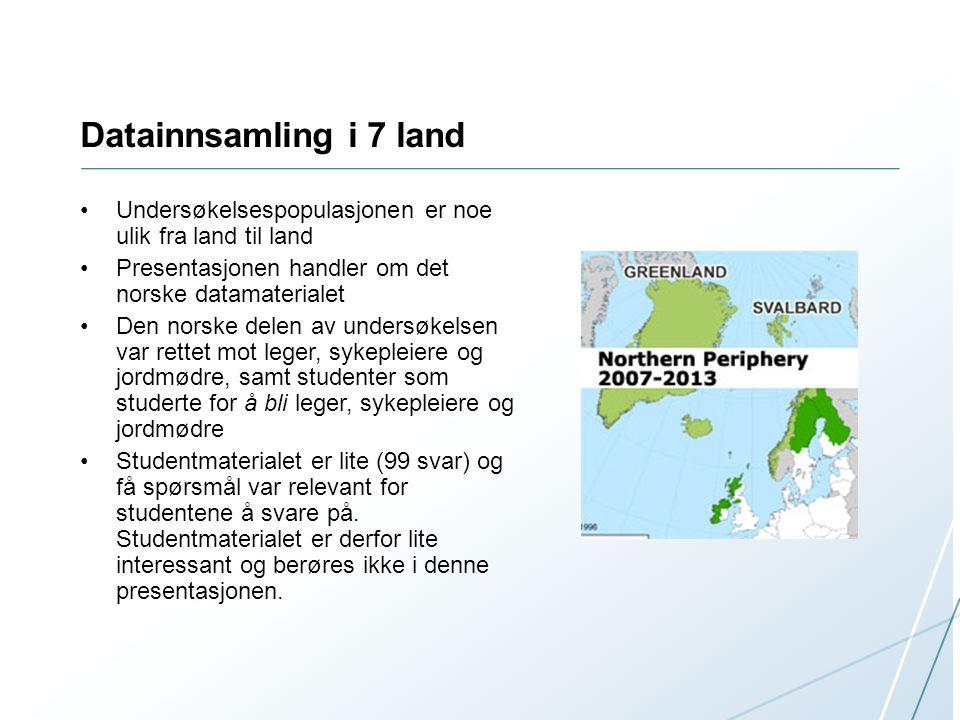 Datainnsamling i 7 land •Undersøkelsespopulasjonen er noe ulik fra land til land •Presentasjonen handler om det norske datamaterialet •Den norske dele