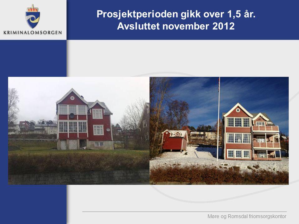 Møre og Romsdal friomsorgskontor Prosjektperioden gikk over 1,5 år. Avsluttet november 2012