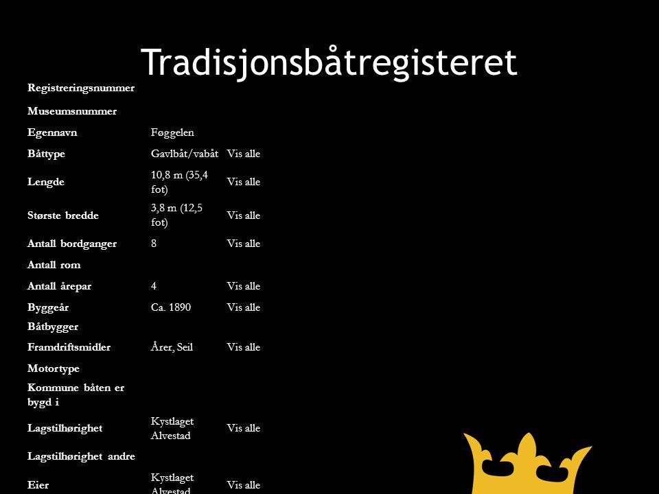 Tradisjonsbåtregisteret Registreringsnummer Museumsnummer EgennavnFøggelen BåttypeGavlbåt/vabåtVis alle Lengde 10,8 m (35,4 fot) Vis alle Største bred