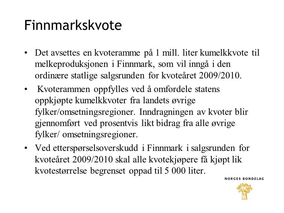 Finnmarkskvote •Det avsettes en kvoteramme på 1 mill.