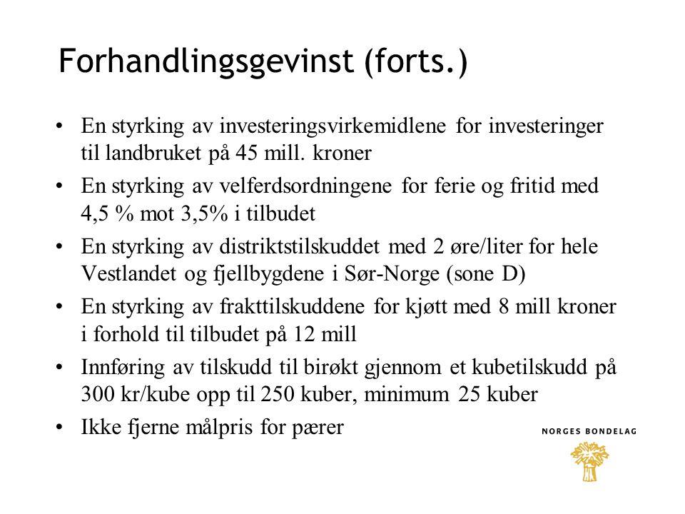Korn •Satsen for prisnedskriving av norsk korn og erter økes med 5 øre per kg fra 1.