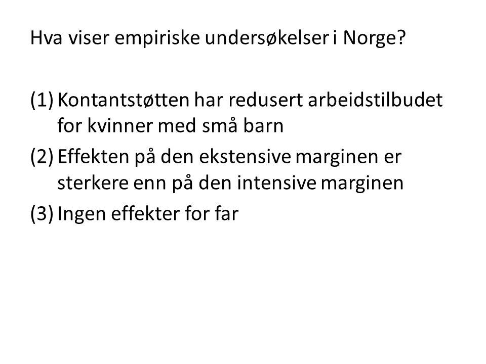 Hva viser empiriske undersøkelser i Norge? (1)Kontantstøtten har redusert arbeidstilbudet for kvinner med små barn (2)Effekten på den ekstensive margi