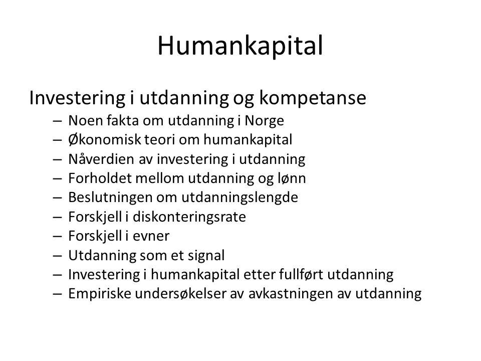 Humankapital Investering i utdanning og kompetanse – Noen fakta om utdanning i Norge – Økonomisk teori om humankapital – Nåverdien av investering i ut