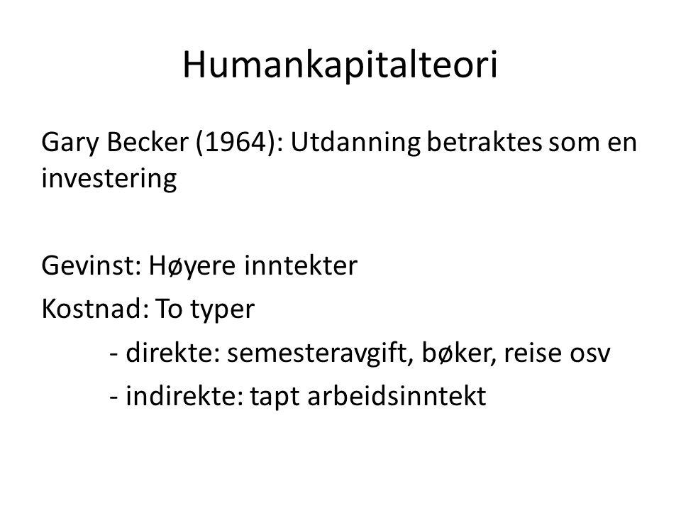 Humankapitalteori Gary Becker (1964): Utdanning betraktes som en investering Gevinst: Høyere inntekter Kostnad: To typer - direkte: semesteravgift, bø