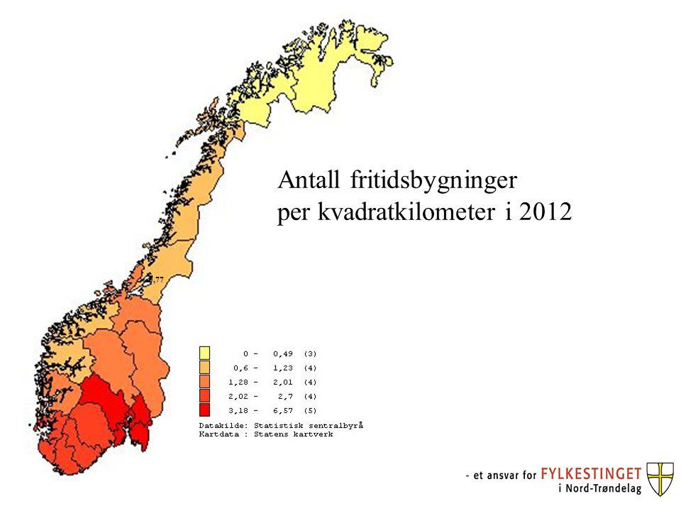 Antall fritidsbygninger per kvadratkilometer i 2012 2012 Antall fritidsbygninger per km² Snåsa0,16 Namsskogan0,2 Grong0,29 Røyrvik0,3 Høylandet0,32 Lierne0,37 Fosnes0,39 Overhalla0,4 Namdalseid0,49 Leka0,56 Nærøy0,63 Verdal0,92 Meråker0,98 Flatanger1,15 Stjørdal1,19 Steinkjer1,22 Namsos1,24 Vikna1,27 Verran1,28 Leksvik1,83 Inderøy (f.o.m.