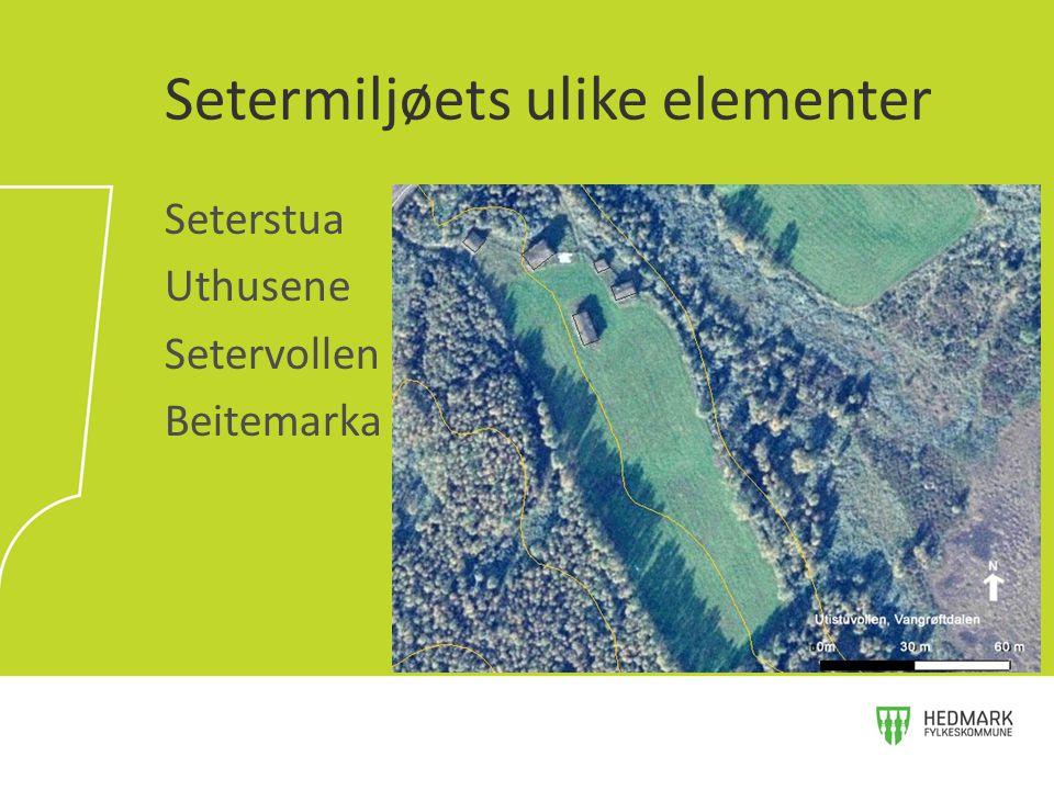 Seterstua Uthusene Setervollen Beitemarka Setermiljøets ulike elementer