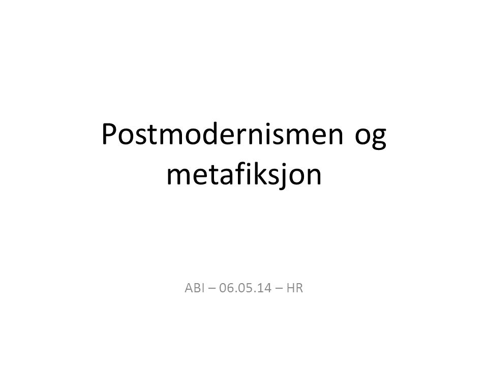 Kjennetegn ved postmodernismen er blant annet: - Self-consciousness and reflexivity; being aware of themselves [kunstverkene] as texts - Fragmented or multiple views of life experience - Skepticism about the autonomy of the human subject or individual - Promoting the breakdown between «high» and «low» culture - Critiquing «grand narratives» or «metanarratives»: systems that explain and order how the world works, such as capitalism, religion, or democracy - Constructing «virtual» and alternative realities which compete with and supersede actual reality – for example, media images, copies of artworks which become widely available, or «tribute» rock groups - The use of irony, parody, and pastiche to create texts, moving away from any ideal of «originality,» which is now seen as impossible (Knowles 2002 s.