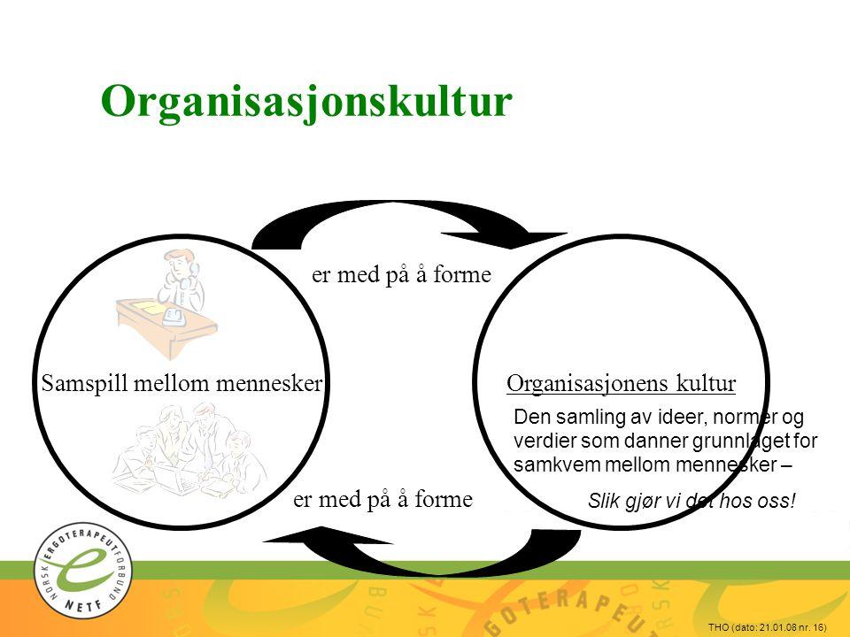 THO (dato: 21.01.08 nr. 16) Organisasjonskultur Organisasjonens kulturSamspill mellom mennesker er med på å forme Den samling av ideer, normer og verd