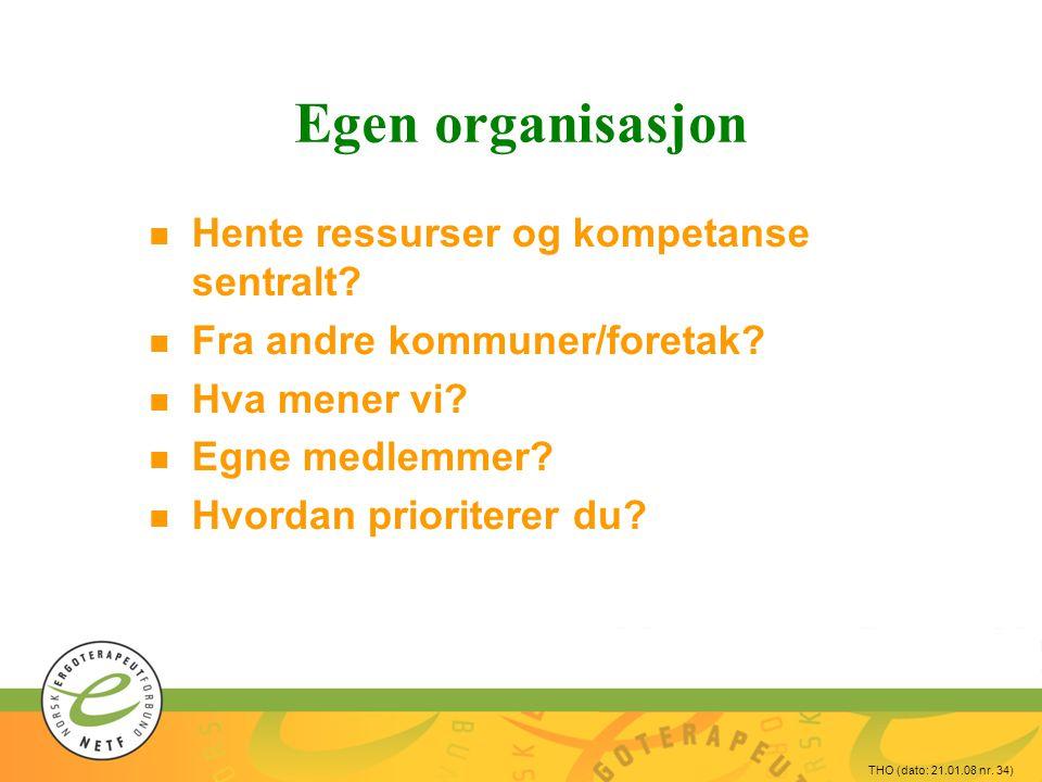 THO (dato: 21.01.08 nr.34) Egen organisasjon n Hente ressurser og kompetanse sentralt.