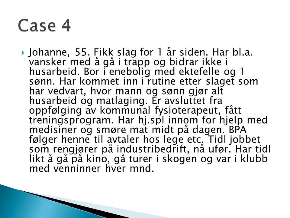  Johanne, 55.Fikk slag for 1 år siden. Har bl.a.