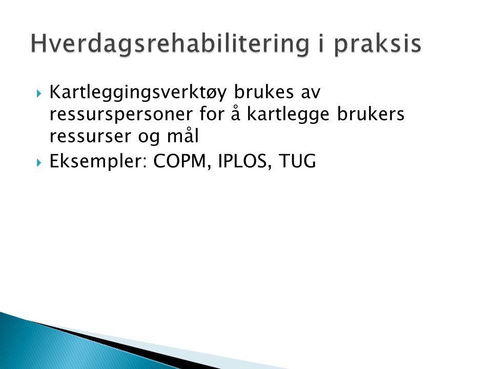  Kartleggingsverktøy brukes av ressurspersoner for å kartlegge brukers ressurser og mål  Eksempler: COPM, IPLOS, TUG