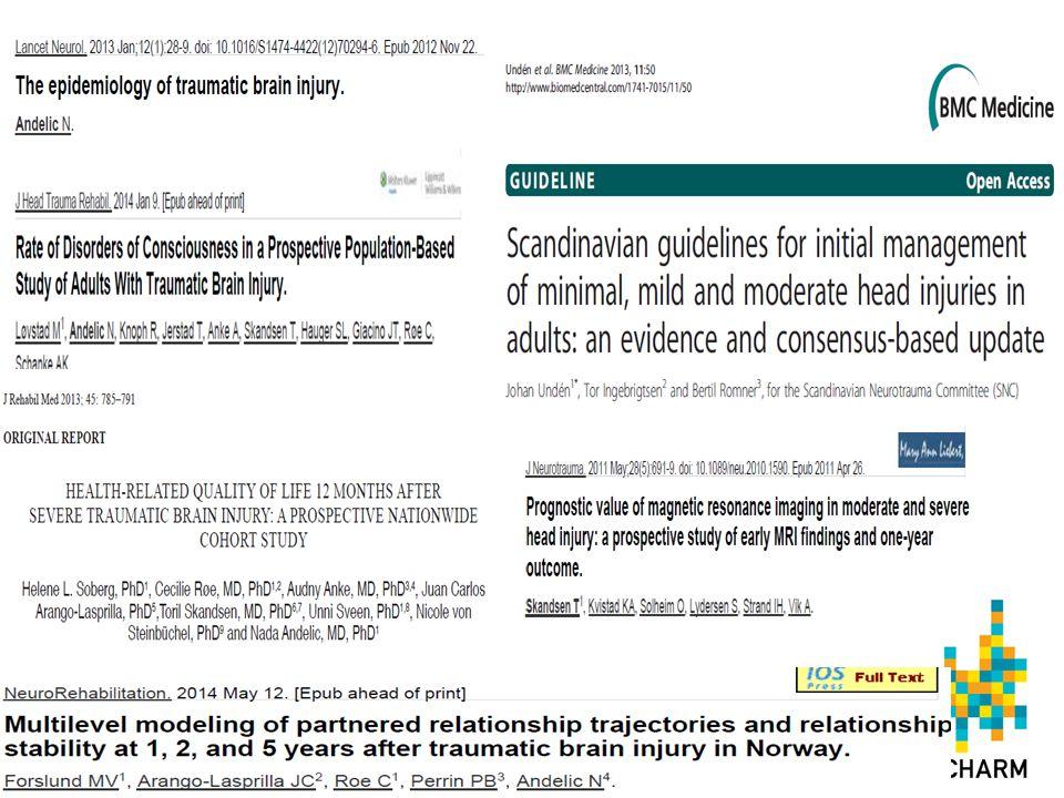 Styrker i norsk TBI forskning • Bygget på representative kohorter • Klinisk relevant forskning • Tverrfaglig og involvert de ulike involverte klinisk spesialiteter • Kliniske effekter og samfunnskostnader