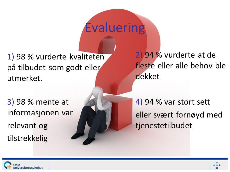 Evaluering 2) 94 % vurderte at de fleste eller alle behov ble dekket 1) 98 % vurderte kvaliteten på tilbudet som godt eller utmerket. 4) 94 % var stor
